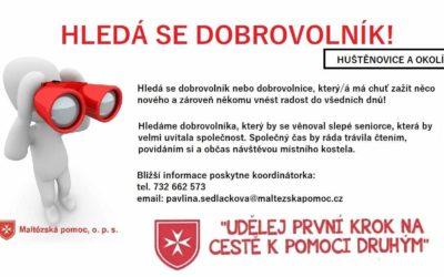 Hledáme dobrovolníky do Hustěnovic. Darujte svůj čas i vy